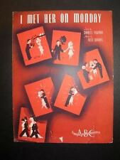 I Met Her On Monday Sheet Music Vintage 1942 Allie Wrubel Charles Newman (O)