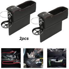 2x Car Seat Gap Filler Storage Organizer Armrest Cup Holder Pu Leather Universal