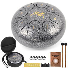 Steel Tongue Drum 6 Inch 8 Notes Percussion Instrument With Drum Mallets Bag