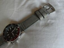 Grey Leather Watch Strap for Seiko SKX SNZF Diver Watch Quick release Pins 22 mm
