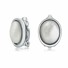 Oval MOP Bezel Dome Button Style Clip On Earrings Ears Silver Plated