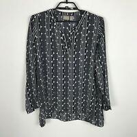 Chico's Tunic Blouse Womens Size 2 Long Sleeve Black White Geometric Print