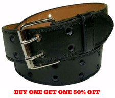 Men's Women's Genuine Leather Two Prong Double Row Holes Casual Plain Black Belt