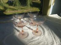4 Vintage Depression Pink Panel Optic Wine Glasses or could be Tall Sherbets
