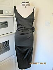 KAREN MILLEN BLACK SATIN PENCIL// WIGGLE DRESS SIZE 14 IN GOOD CONDITION
