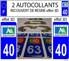 2 STICKERS RECOUVERT DE RESINE PLAQUE D IMMATRICULATION DEPARTEMENT 40 LANDES