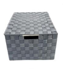 Lidded Grey White Woven Fabric A4 Paper Storage Box Hamper Basket Metal Handles