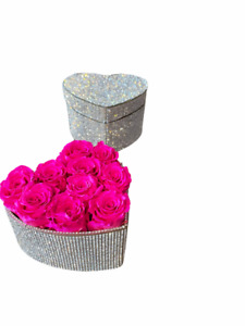 Preserved hot pink roses in a crystal heart shaped box, forever roses,