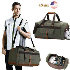 Large Canvas Travel Tote Leather Duffle Bag Shoulder Handbag Luggage Unisex