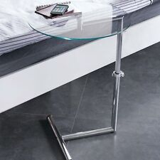 Clear Glass Side/End/Laptop/Coffee Table-Zen Adjustable Round Table-GT07C