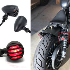 Black Universal Cafe Racer Bobber Motorcycle Turn Signals Indicator Lights Red