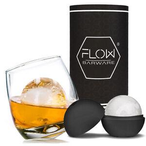 Rocking Whiskey Glass & Round Ice Ball Gift Set - Whisky Glass, Ice Mould & Tube