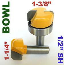"2pc 1/2"" SH 1-1/4 & 1-3/8 Bowl, Dish, Tray Carving  Router Bit Set  sct-888"