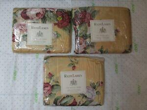 Ralph Lauren KATHLEEN Yellow Red Rose Floral Flat Sheet (IRREGULAR) - Queen