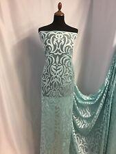 "NEW Mint / Silver Colour Jacquard Net Lace High Class Fashion Fabric 58"" 147cm"