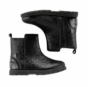 New Carter's Glitter Kitty Cat Face Black Boots Size 7 Age 2-4 Years Size Zipper