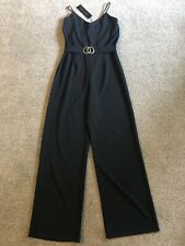 WOMENS PINK VANILLA BLACK BELTED V NECK  JUMPSUIT SIZE 12 BNWT NEW LOOK