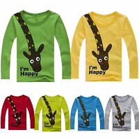 Kids Boys Round Neck Tops T Shirts Pullover Outwear Long Sleeve Clothes Coat Tee