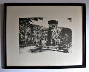 Vintage Framed Caroline Williams Stencil Print ELSINORE ENTRANCE TO EDEN PARK