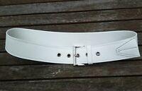 Prada Gürtel Größe 32 80 XS weiß silber Schnalle 100% Leder Damen Luxus