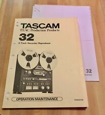 TASCAM Manual 2 track Recorder Operations / Maintenance  5700029100 Nice Condit