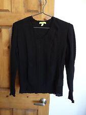 Sigrid Olsen women's long sleeve v-neck casual career sweater size L black
