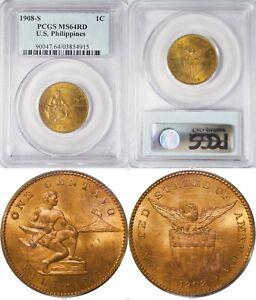 1908-S US/Philippines 1 Centavo ~ PCGS MS64 RED RED RED ~ Allen#2.06 ~ 4915