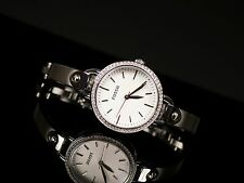 NEW FOSSIL SILVER TONE,CRYSTAL PAVE,STAINLESS STEEL BANGLE BAND WATCH BQ3162