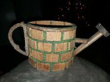 Handmade wooden watering can basket garden decor rare
