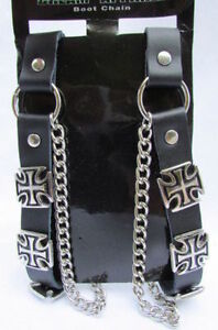 Men Iron Cross Silver Boot Chain Pair Black Straps Shoe Bracelet Religions Charm