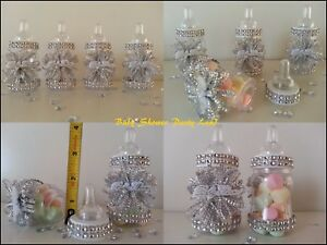 Baby Shower Favors 12 Silver Fillable Bottles Prizes Games Decorations