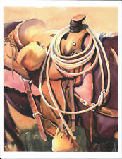Al Fegebank Contemporary Western Art Watercolor Print – Ready n Waitin