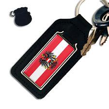 AUSTRIA AUSTRIAN FLAG EAGLE OBLONG LEATHER KEYRING / KEYFOB