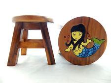 Childs Childrens Wooden Stool - Mermaid Step Stool