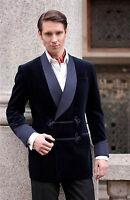 New Men's Bilberry Smoking Velvet Jacket Stylish Blue Shawl Blazer Coat Jackets