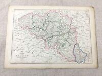 Antik Map Of Belgien Herzogtum Von Luxemburg Alte Hand- Farbig 19th Jahrhundert