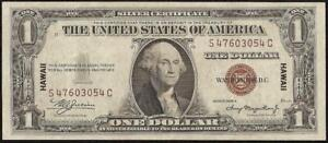 1935 A $1 DOLLAR WWII HAWAII SILVER CERTIFICATE BROWN SEAL NOTE PAPER MONEY AU