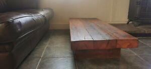 "Rustic handmade solid wood sleeper ""floating"" coffee table. Xtra Long. Xtra Low."