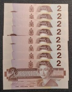 1986 Canada Thiessen Crow BC-55b-i $2.00 Banknote Lot of 8 Consecutive