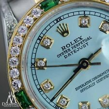 Women's Rolex Steel & Gold 31mm Datejust Watch Ice Blue Emerald Diamond Dial
