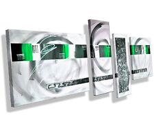 Mk1 ART Cuadro Lienzo Abstracto Arte Pintura Acrílico Imágenes Verde Blanco XXL