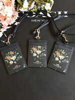 NEW COACH 91792 MIDNIGHT BLACK BOHEMIAN FLOWERS  Lanyard ID BADGE Holder NWT