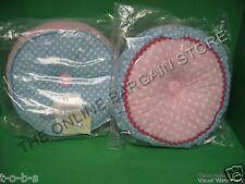 2 Pottery Barn Kids Betsy's Doll Round Bed Throw pillows w insert pink blue dot