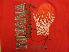 Indiana University Red Basketball Hoops Ncaa Adult Xlt T Shirt Free Us Shipping
