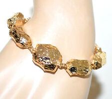 7ad668d5069e PULSERA mujer colgantes dorado oro metal martillado brillante brazalete BB37