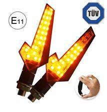 2x LED Motorrad Mini Blinker Pfeil 12V | Sequentiell Lauflicht | E11 Prüfzeichen