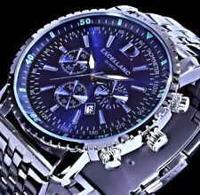 Excellanc Herren Armband Männer Uhr Blau Datumsanzeige Datum Edelstahl SI4-3