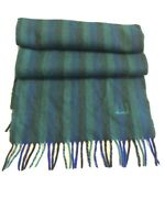Dunhill Scarf Green Blue Stripe 100% Cashmere Tassels Made in Scotland Winter