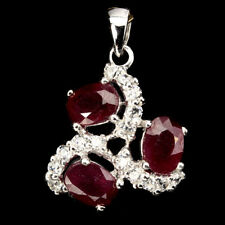 REAL GEM Oval 7x5 MM Blood Red Ruby ,Cubic Zirconia 925 Silver Pendant ChainFree