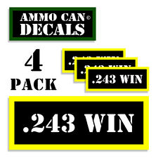 "243 WIN Ammo Can Labels Ammunition Case 3""x1.15"" stickers decals 4 pack BLYW"